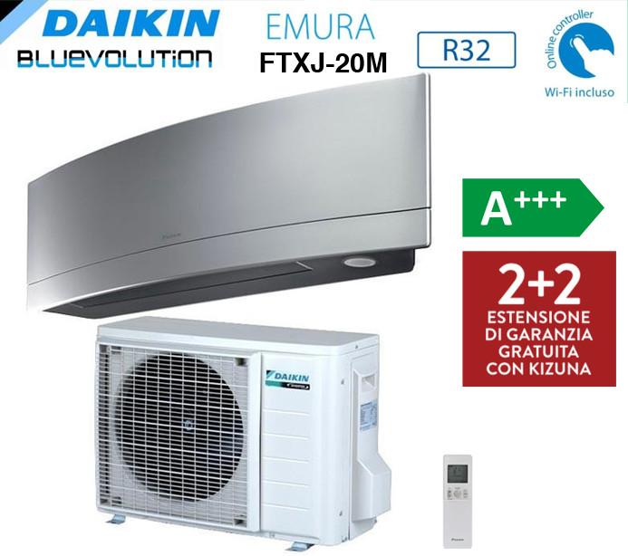 DAIKIN KIT MONOSPLIT FTXJ20M RXJM EMURA SILVER  BLUEVOLUTION 7000 BTU Wi-Fi A+++ INVERTER